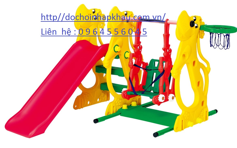 Cầu trượt xích đu con hà mã  Mã DK 009-8